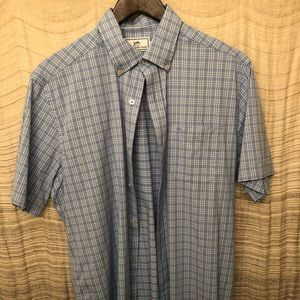 Men's Southern Tide Blue Casual Button Up Medium